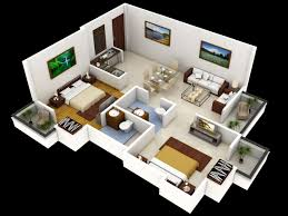 2 bedroom house 3d plans open floor plan and best images about