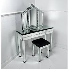 White Desk Glass Top Mirror Dressing Table With Black Glass Top And Drawers Plus Square