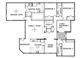 1 story floor plans 4 bedroom bungalow house plans 1 story house decorations