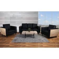 canape en bois canapé de salon en bois de chêne et simili cuir coloris noir avec