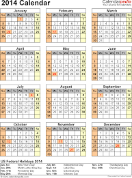 2014 calendar with federal holidays u0026 excel pdf word templates