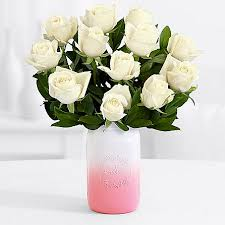 Long Stem Rose Vase One Dozen Long Stemmed White Roses