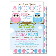 baby shower invitations owl gender reveal baby shower invitation guess who
