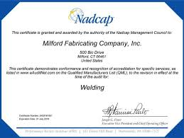nadcap and as9100b certified milford fabricating located in