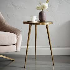 Brass Side Table Cast Tripod Side Table West Elm