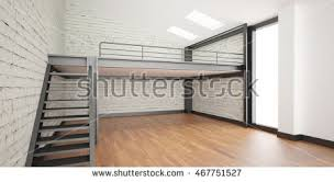 loft design 3d interior rendering industrial mezzanine space stock illustration