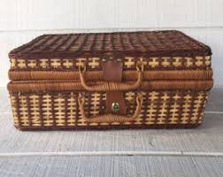 vintage picnic basket vintage picnic basket woven wicker and splint rigid handle