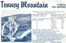 New England Area Map by 1964 65 Tenney Mountain Trail Map New England Ski Map Database