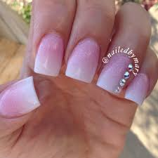 ombré gradient french tip swarovski crystals square acrylic nails