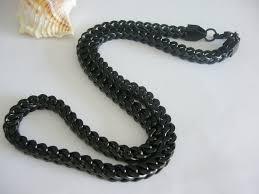 titanium necklace men images Length 56cm width 6mm black titanium steel square chunky chain jpg