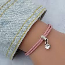 swarovski crystal leather bracelet images Leather bracelet with swarovski crystal silver and pink orli jpg
