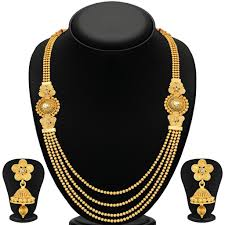 gold plate necklace images Sukkhi stylish jalebi 4 string gold plated necklace set for women jpg