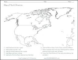 north america blank outline map worksheet free to print