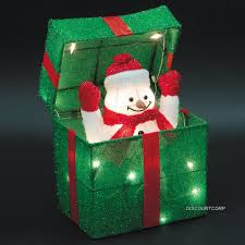 animated santa or snowman lighted gift box outdoor