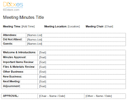 sample informal meeting minutes template