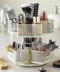 Bathroom Makeup Storage Ideas Makeup Brush Cosmetic Carousel Rotating Organizer In Cream