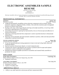Resume Sample For Electronics Engineer by 20 Production Line Worker Resume Samples Vinodomia