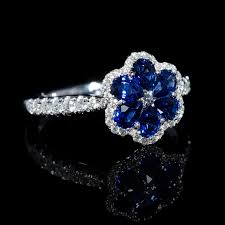 flower shaped rings images 37ct diamond and pear shaped blue sapphire 18k white gold flower ring jpg