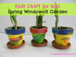 pink and green mama spring windowsill garden for children with