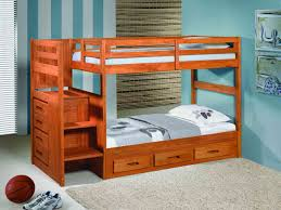 Bedroom Sets Natural Wood Furniture Natural Wood Bunk Bed With Stair And Trundle By Walker