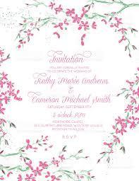 Cherry Blossom Wedding Invitations Cherry Blossom Branch Framed Border Vertical Wedding Invitation
