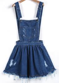 blue strap ripped denim pinafore dress shein sheinside