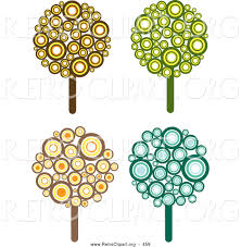 retro clipart of a set of four retro design styled trees made of