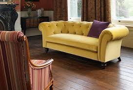 cokethorpe sofa in sanderson taormina yellow and stow chair