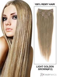 Human Hair Extensions With Clips by Lovely Light Golden Brown Body Wave Clip In Indian Remy Human Hair