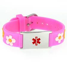 pink silicone bracelet images Medical alert id pink flowers silicone bracelet mimosura JPG