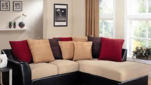 elegant beige wall paint color cream faux fabric sectional sofa