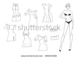 vector paper doll young beautiful stock vector 569246368