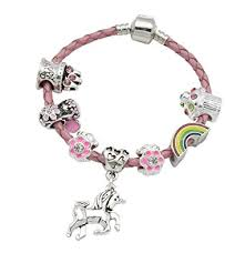 Birthday Charm Bracelet U0027s Pink Leather Unicorn Birthday Charm Bracelet With Gift Box