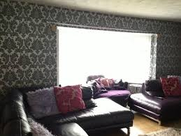 Silver Leather Sofa by I Have Grey Silver Damask Wallpaper And Plum Leather Sofas What