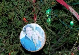 simple photo ornament made from tree trunk wood simply natural mom
