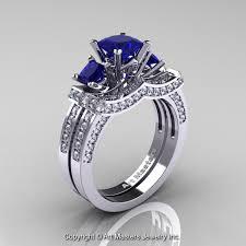 wedding ring bridal set 14k white gold three princess blue sapphire