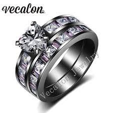 black and pink wedding ring sets online get cheap pink black wedding ring set aliexpress