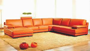 Contemporary Sectional With Chaise Contemporary Orange Leather Sectional Sofa With Chaise