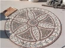 black marble beige mabrle mosaic medallion pattern paver patio