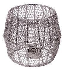 tea light holder candle stand in metal mesh u2013 open drum shape