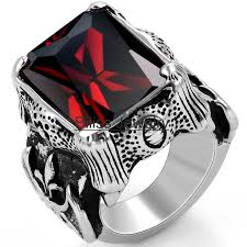 buy metal rings images Vintage style stainless steel wedding band red cz dragon claw jpg