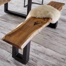 Esszimmerst Le Holz Massiv Design Tisch Und Bank Set Mit Baumkante Veneca Wohnen De