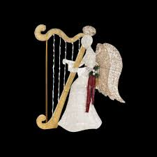 Outdoor Christmas Decorations Home Depot Home Accents Holiday 55 In Led Lighted White Pvc Sitting Angel