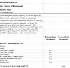 employee benefits statement template my excel templates