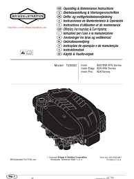 briggs and stratton operating manual small engines