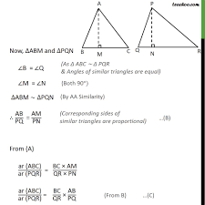 theorem 6 6 class 10 ratio of areas of two similar triangles the