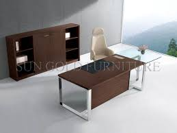 Modern Office Desk With Glass TopOffice Table With Steel Foot