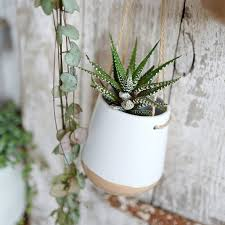 ceramic hanging planter pot with jute string by lilac coast