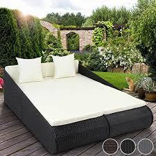 miadomodo poly rattan sun lounger indoor outdoor garden sofa day bed