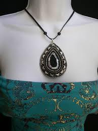 black bead sequins big silver metal pendant moroccan style